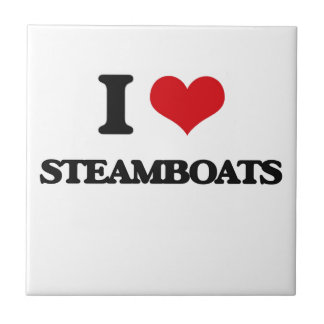 Amo los barcos de vapor azulejo cuadrado pequeño