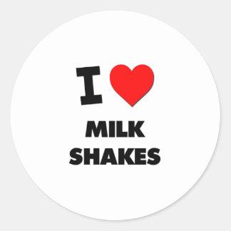 Amo los batidos de leche etiquetas redondas