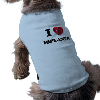 Amo los biplanos playera sin mangas para perro