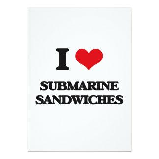 Amo los bocadillos submarinos invitación 12,7 x 17,8 cm