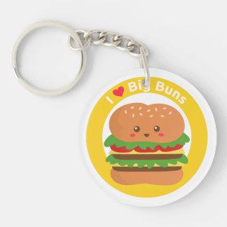 Amo los bollos grandes, hamburguesa grande de Kawa Llavero Redondo Acrílico A Doble Cara
