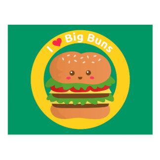 Amo los bollos grandes, hamburguesa grande de Kawa Postal