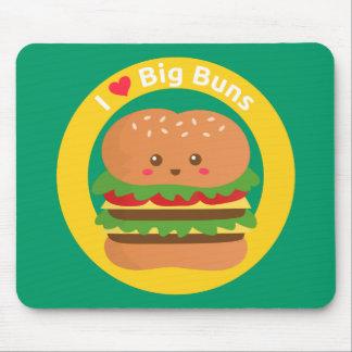 Amo los bollos grandes, hamburguesa grande de Kawa Tapete De Ratón