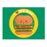Amo los bollos grandes, hamburguesa grande de Kawa Postales