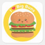 Amo los bollos grandes, hamburguesa grande de pegatina cuadrada