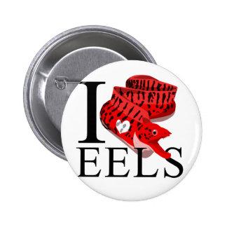 Amo los botones de las anguilas pin redondo de 2 pulgadas