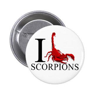 Amo los botones de los escorpiones pin redondo de 2 pulgadas