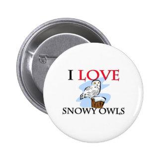 Amo los búhos Nevado Pin Redondo 5 Cm
