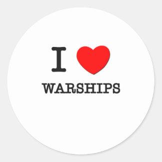 Amo los buques de guerra etiqueta redonda
