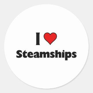 amo los buques de vapor pegatinas redondas