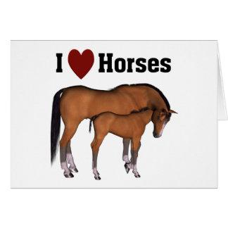 Amo los caballos Notecard Tarjeta Pequeña
