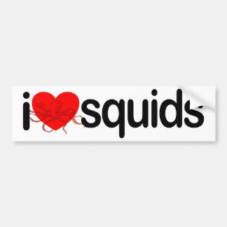Amo los calamares etiqueta de parachoque