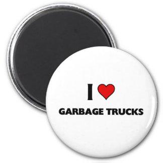 Amo los camiones de basura imán redondo 5 cm