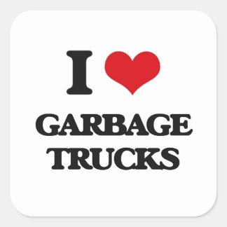 Amo los camiones de basura pegatina cuadrada