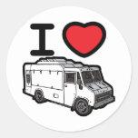 ¡Amo los camiones de la comida! Etiqueta Redonda
