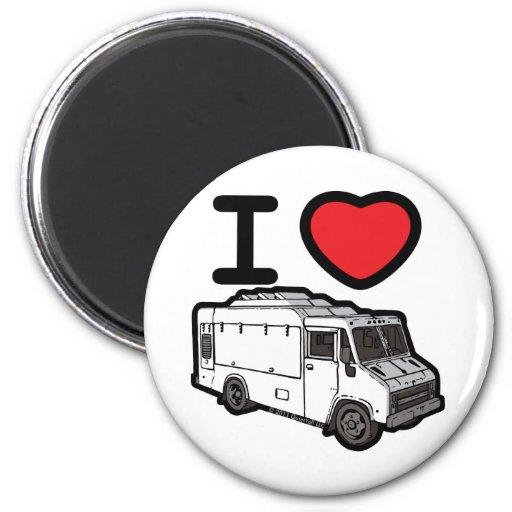 ¡Amo los camiones de la comida! Imán Redondo 5 Cm