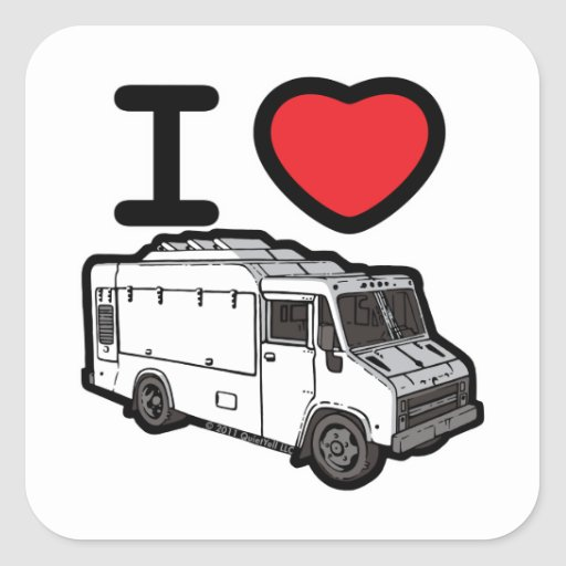¡Amo los camiones de la comida! Calcomania Cuadradas Personalizadas