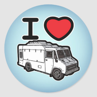 ¡Amo los camiones de la comida! Etiquetas Redondas