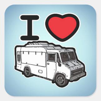 ¡Amo los camiones de la comida! Calcomanía Cuadradase