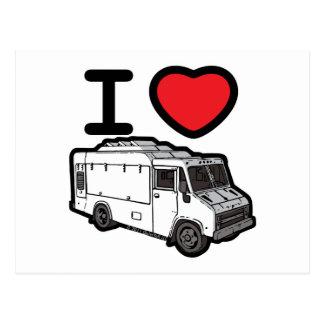 ¡Amo los camiones de la comida! Tarjeta Postal