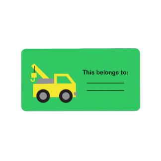 Amo los camiones, vehículo amarillo lindo para los etiqueta de dirección