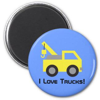 Amo los camiones, vehículo amarillo lindo para los imán redondo 5 cm