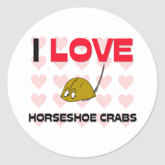 Amo los cangrejos de herradura pegatina redonda