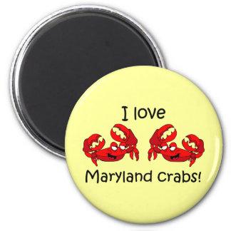 ¡Amo los cangrejos de Maryland! Imán Redondo 5 Cm