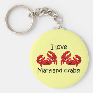 ¡Amo los cangrejos de Maryland! Llavero Personalizado