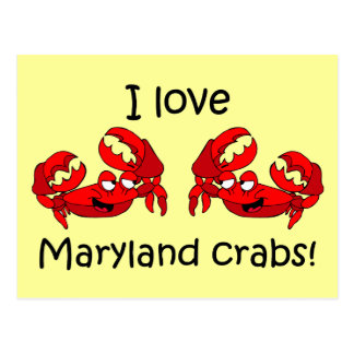 ¡Amo los cangrejos de Maryland Tarjeta Postal