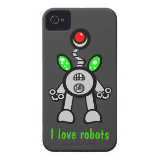 Amo los casos del iPhone 4s de los robots grises iPhone 4 Cárcasas