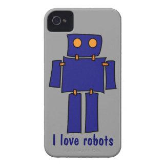 Amo los casos del iPhone 4s de los robots grises y iPhone 4 Case-Mate Funda