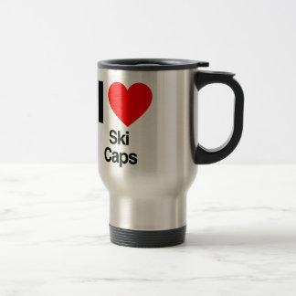 amo los casquillos de esquí tazas de café