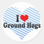 Amo los cerdos de tierra etiquetas redondas