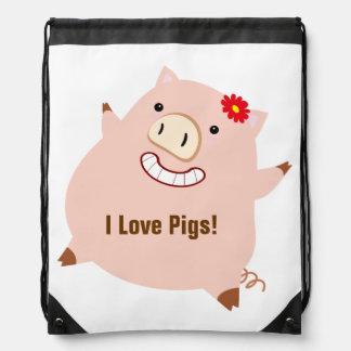Amo los cerdos (el cerdo bonito adaptable) mochilas