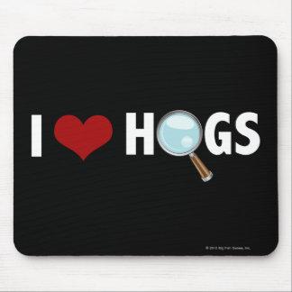 Amo los cerdos rojos/blanco tapetes de ratón