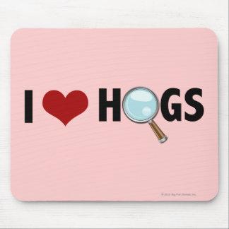 Amo los cerdos rojos/negro tapetes de ratón