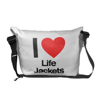 amo los chalecos salvavidas bolsa de mensajería