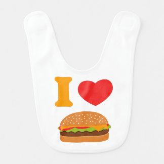 Amo los cheeseburgers babero de bebé