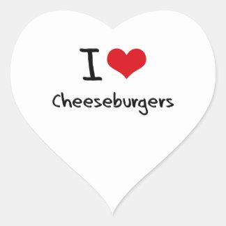 Amo los cheeseburgers calcomania corazon personalizadas