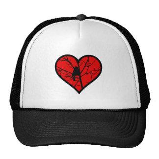 Amo los chickadees, mirando el corazón de la gorras