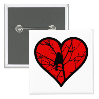 Amo los chickadees, mirando el corazón de la pin cuadrado