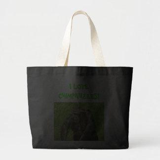 Amo los chimpancés - bolso bolsa tela grande