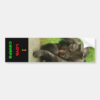Amo los chimpancés - pegatina pegatina para auto