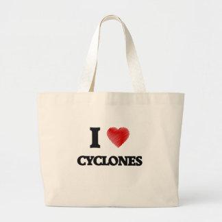 Amo los ciclones bolsa tela grande