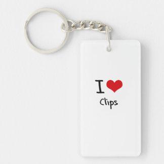 Amo los clips llavero rectangular acrílico a una cara