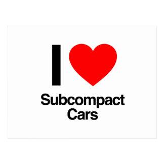 amo los coches del subcompact tarjeta postal