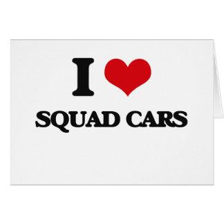 Amo los coches patrulla tarjeta de felicitación