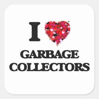 Amo los colectores de basura pegatina cuadrada