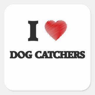 Amo los colectores de perro pegatina cuadrada